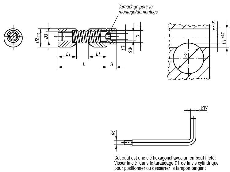 Norelem Tampon Tangent Pour Piece Cylindrique