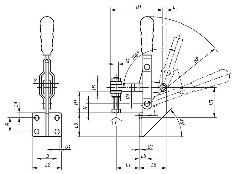 capacit/é de maintien verticale G H-12132 haute efficacit/é Sauterelle /à levier type vertical dune capacit/é de serrage rapide
