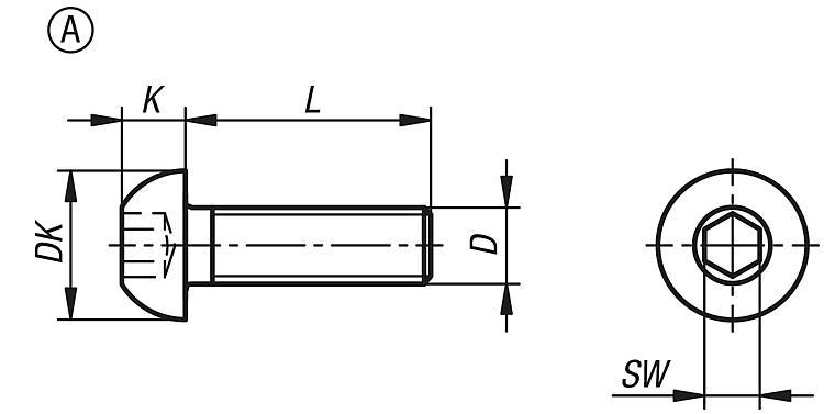 M5x40 Vis /à m/étaux T/ête Bomb/ée Six Pans Creux Acier Inox ISO 7380-1 x100