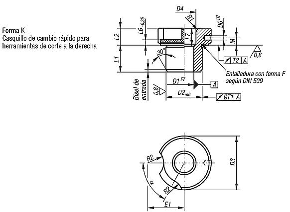 Casquillos insertables DIN 173, parte 1, forma K