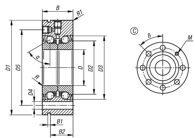 220 229 /& 235 Acier Inoxydable Roulement à billes Tasse avec hybride à manches courtes pédalier Newell