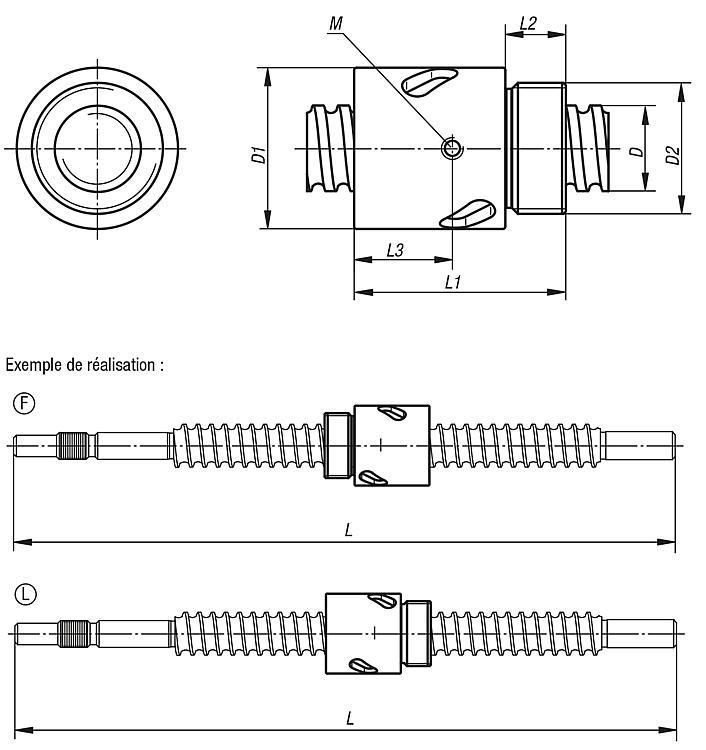 Norelem Vis A Billes Roulee Avec Ecrou Cylindrique A Insertion