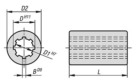 Mozzi scanalati tondi simili a DIN ISO 14