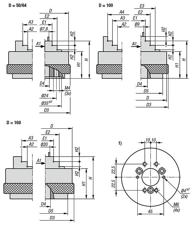 Mandrino di precisione a tre griffe Mandrino a serraggio manuale